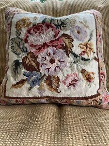 Vintage-Needlepoint-Decorative-Pillow-Floral-Roses-14x14