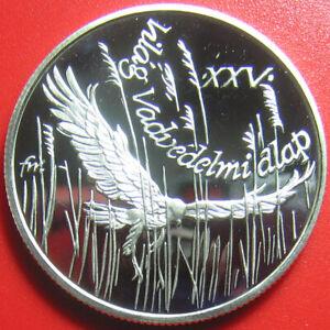 1988-HUNGARY-500-FORINT-SILVER-PROOF-MONTAGU-HARRIER-FALCON-BIRD-WILDLIFE-WWF