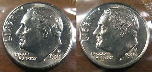 1997-P and 1997-D Gem BU Roosevelt Dimes in Original Mint Set Cello Packs