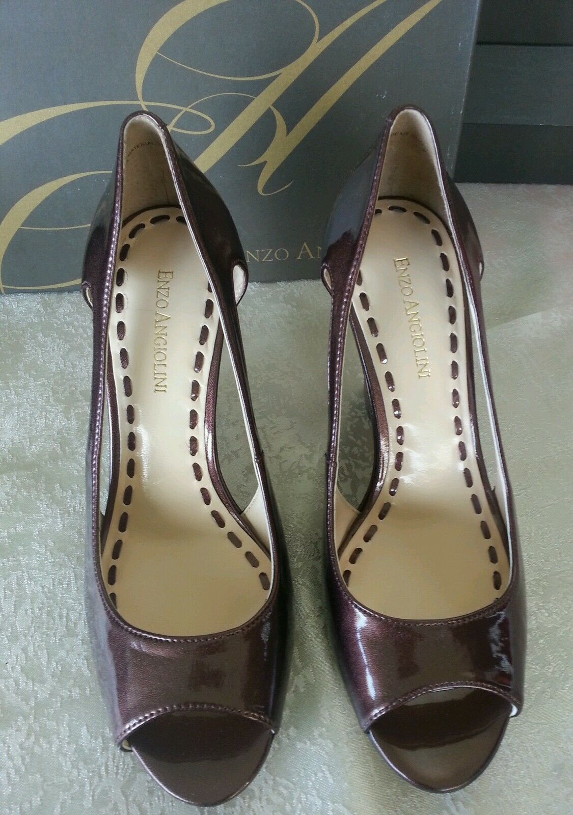 Enzo Angiolini Open-Toe NEW 7 M Pint Copper Synthetic Shiny Open-Toe Angiolini Pumps Sandale Schuhes 16498f