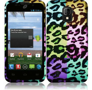 For-ZTE-Majesty-796C-Rubberized-HARD-Case-Snap-On-Phone-Cover-Colorful-Leopard