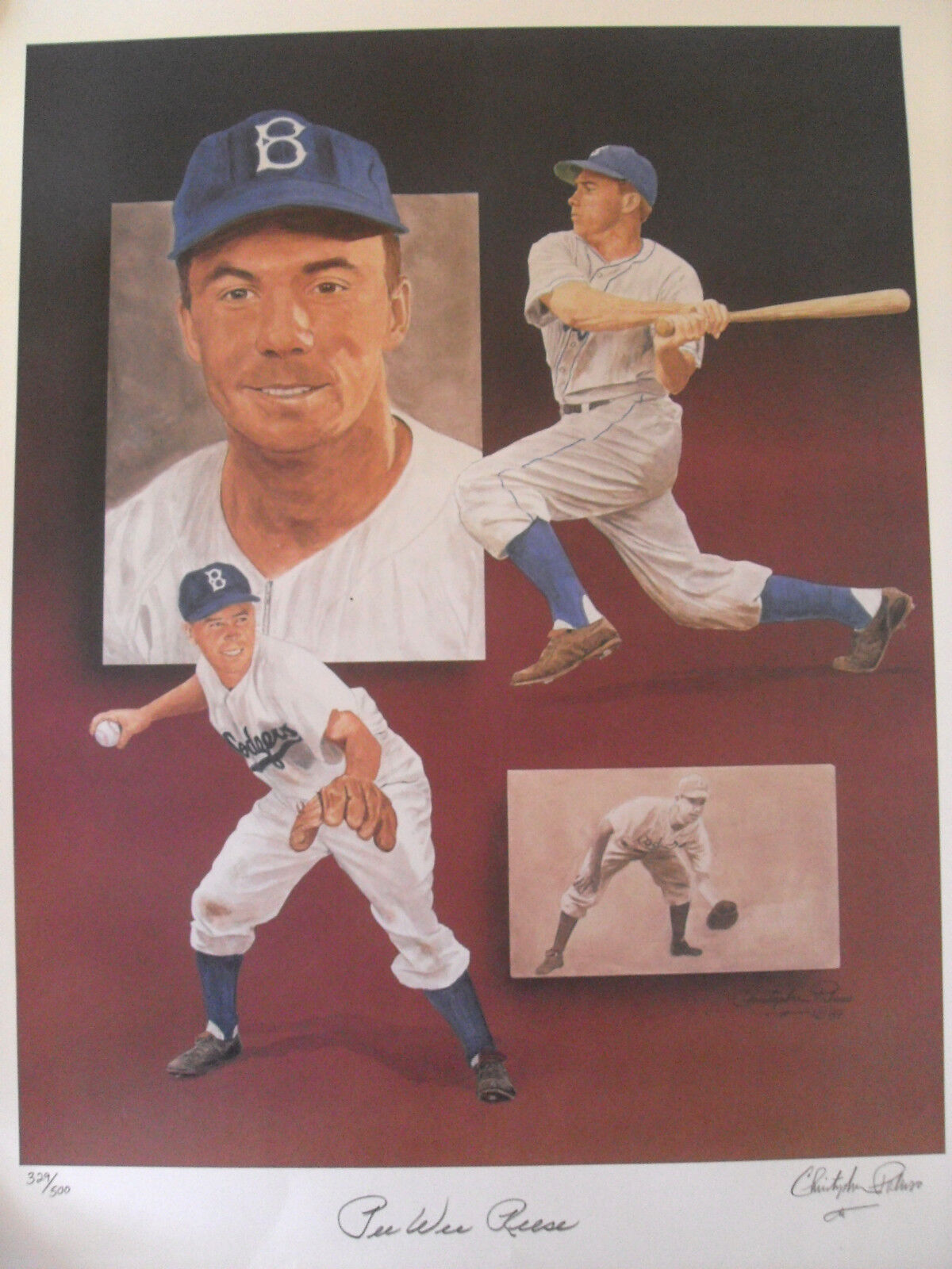 PEE WEE REESE SIGNED LARGE LTD ED PRINT APPROX 18x24