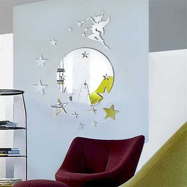 New Fairy Stars Design Large Wall Clock Sticker Home Office Decor Clock OE