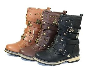 ALISIA-03K Cute Zipper Kids//Toddlers//Youth Combat Low Heel Synthetiy Boots Brown