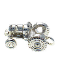British Welded Bliss Sterling 925 Silver Charm, Opening Tractor Shows Engine