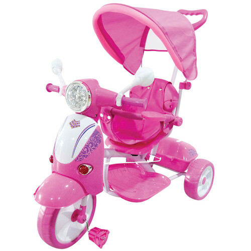 Triciclo passeggino Vespa scooter rose pedali per bambina con parasole e suoni