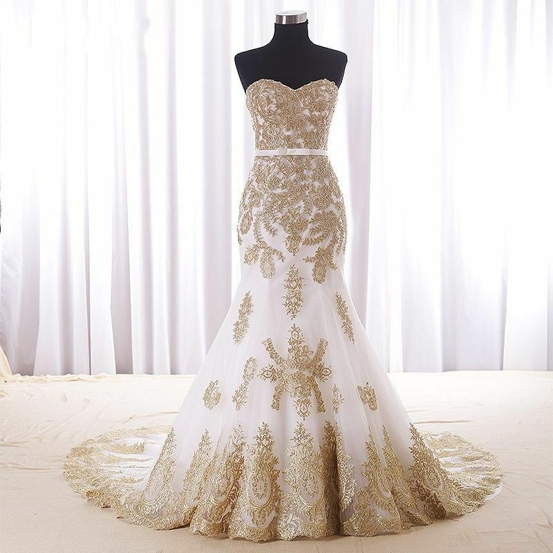 New Gold Lace Mermaid Wedding Dresses Custom Color Plus