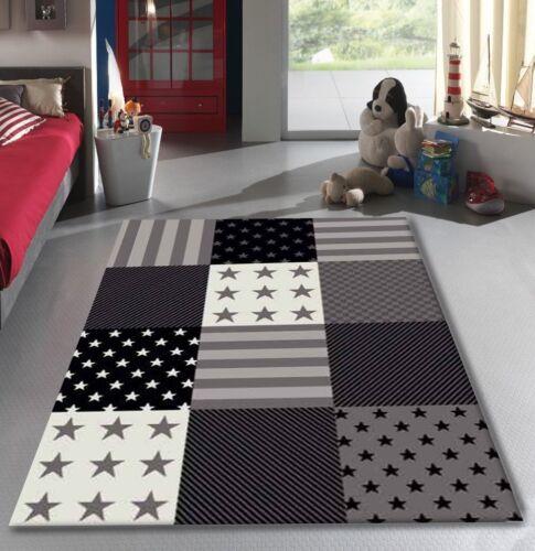 Childrens Star Rug Grey Black Kids Bedroom Floor Carpet Small Large Nursery Mat