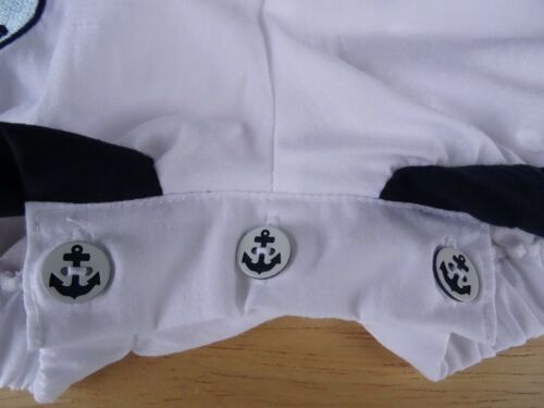 Baby Boy Nautical Sailor Traditional Anchor Buttons Romper All-in-One 0-3-6-9m