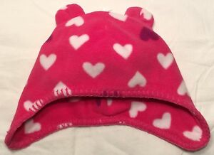 NWT Old Navy 0 - 6 Mo INFANT GIRL Newborn BEAR EARS PINK HEART Warm ... 4cf673f733f