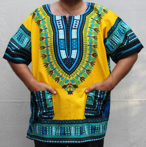 Dashiki African *Hippie Mexican*Poncho Tribal T-Shirts 100/% Cotton Bright Colors