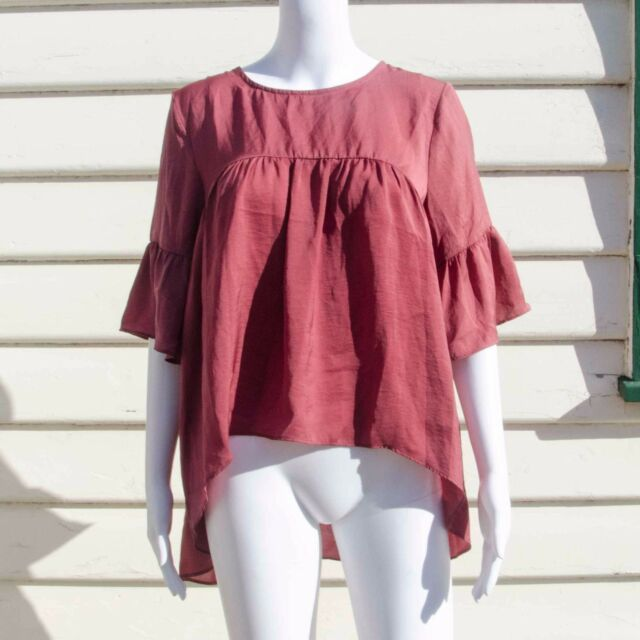 Atmos & Here Ladies Red Long Sleeve Blouse Size 8