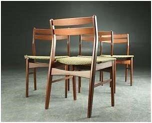 Spisebordsstol, Teak ryg, stel bejdset bøg,