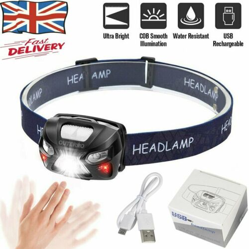 USB Rechargeable LED Head Torch Super Bright LED Headlamps White+Red LED Lights