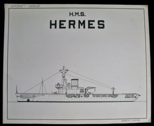 ANTIQUE NAVY MILITARY SCALED DRAWING HMS HERMES AIRCRAFT CARRIER SIGNED