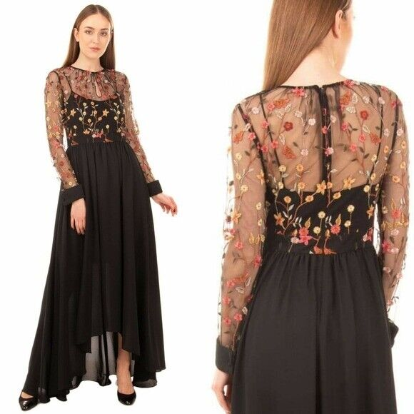 ,695 NWT MIKAEL AGHAL Black Floral Illusion neck mesh Lace Floral Embroidered