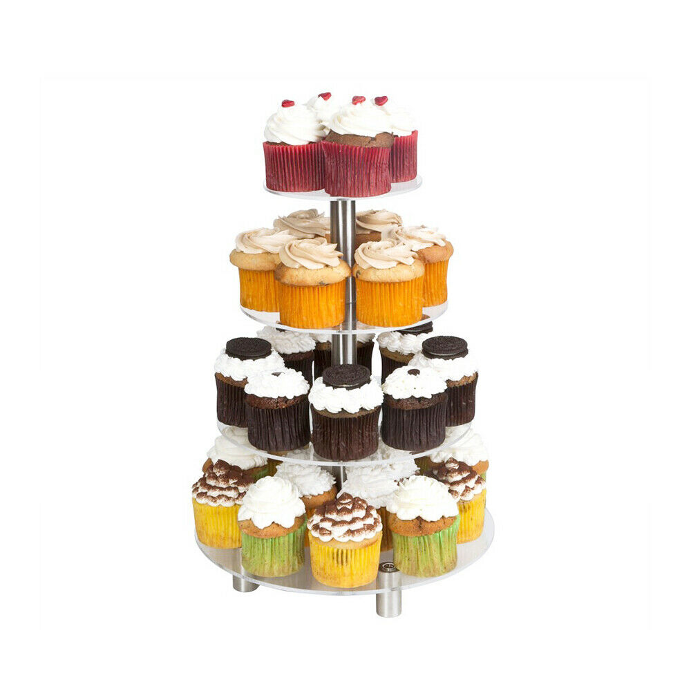 4 Tier Round Acrylic Cupcake Display Stand Clear Display Holder Tree