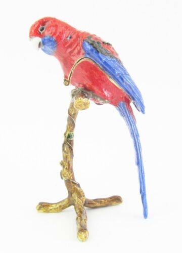 Crimson Rosella Jewelled Bird Trinket Box or Figurine