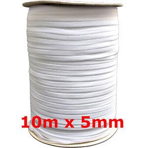 10m-x-5mm-weiss-soft-Gummiband-kochfest-leichter-Zug-Gummilitze-Maske-naehen