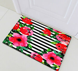 Black White Stripes Red Flower Non Skid