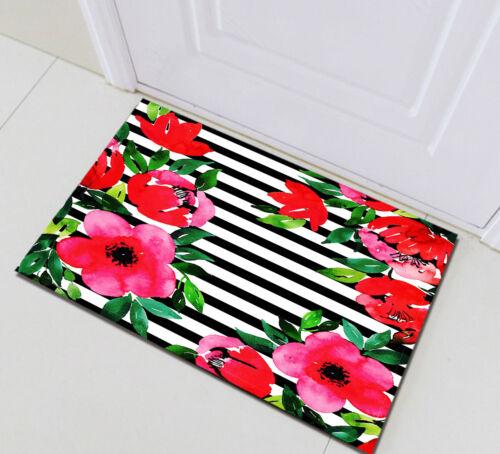 Black White Stripes Red Flower Non-skid Door Bath Mat Home Room Rug Floor Carpet