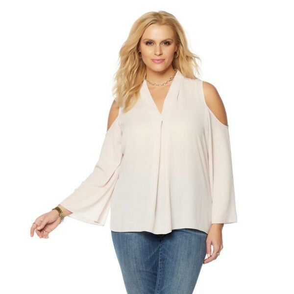 Vince Camuto bluesh Pink Cold Shoulder Bell Sleeve Tunic Blouse 1X New