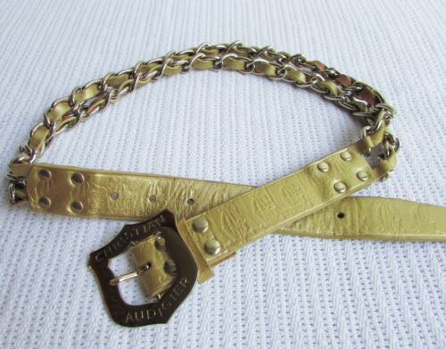 Christian Audigier Size S Gold Tooled Stamped Leather Chain Belt