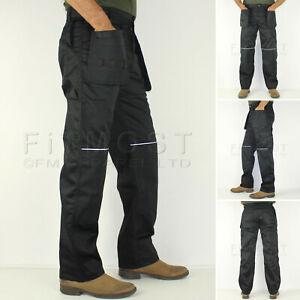 Para-Hombre-Combate-Cargo-Pantalones-de-trabajo-con-almohadilla-para-la-rodilla-varios-Bolsillos