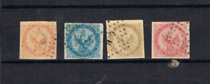 Fr-Kolonien-1859-65-Adler-Freimarken-3-6-gebraucht-u-a-OCN-und-MQE