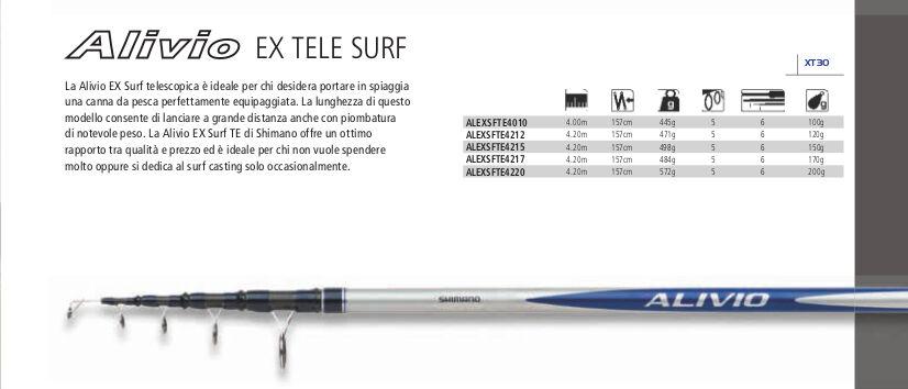 SHIMANO ALIVIO EX EX EX TELE SURF CASTING mt 4,20  azione 120gr SPETTACOLARE!!! c102f2