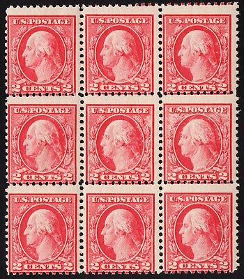 Us Sc # 499 * Postfrisch Og Nh * { Misperf & Dry Ink Fehler Efo } Block Of 9