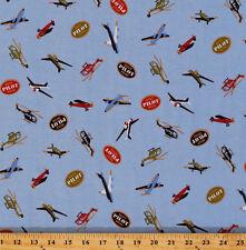 Cotton Lycra Jersey Aviation Airplane Pilot Blue Stretch Knit Fabric BTY D347.14