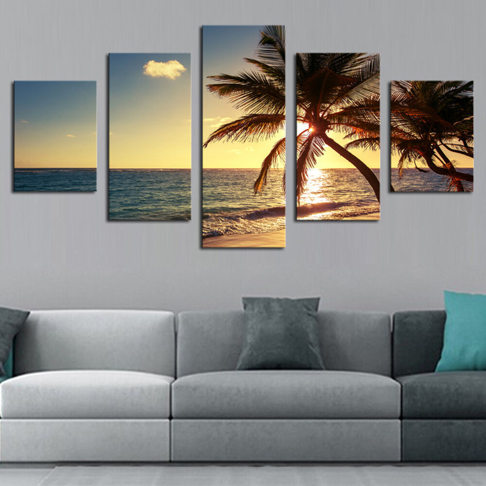 EP_ 5Pcs Seascape Wall Art Painting Pictures Living Room Home Decor Unframed Hea