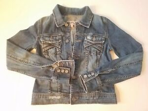 Womans-Juicy-Couture-P-Petite-Denim-Jean-Button-Jacket-Distressed-Windbreaker