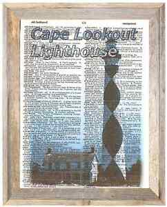 Cape Lookout Lighthouse N Carolina Altered Art Print Upcycled Vintage Dictionary