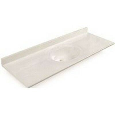 Bathroom Vanity Top With Single Recessed Bowl, Cultured Marble, White, 22X61 In.