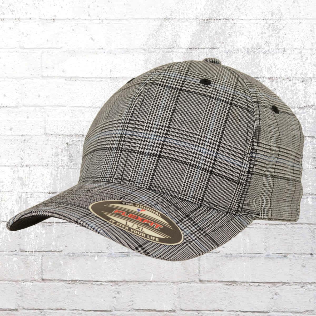 Flexfit Mütze Karo Cap Glen Check grau Kappe Haube Basecap Capi Fullcap Hat