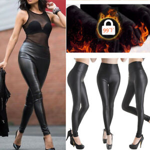 best collection competitive price hoard as a rare commodity Details about Women Ladies Thermal Winter Black Thick Fleece Lined Leather  Legging 6 8 10 12 P