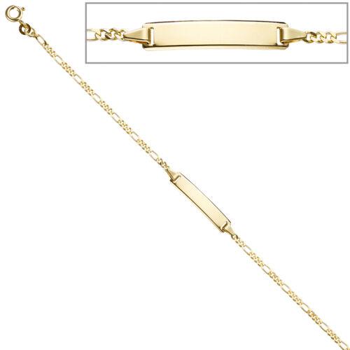 Schildband 333 Gold Gelbgold 18,5 cm Gravur ID Armband Federring