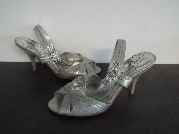 NEXT Silver Dragonfly Strappy Sling Back High Heel Occasion shoes UK 8 Wide NWOB