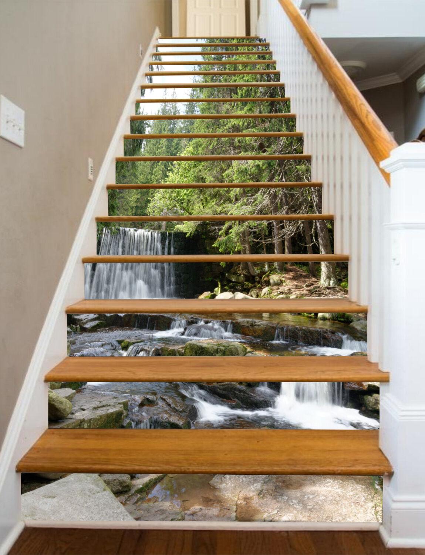 3D Wald Ansicht 880 Stair Risers Dekoration Fototapete Vinyl Aufkleber Tapete DE