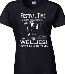 d61a0abc9 Image is loading Music-Festival-T-Shirt-Ladies-Funny-Glastonbury-Reading-