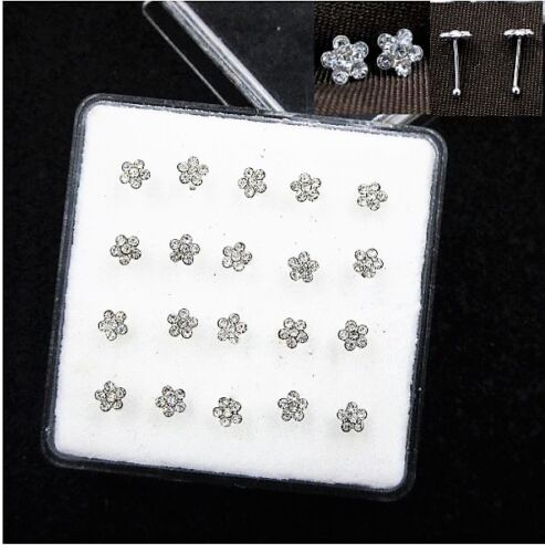 .925 Sterling Silver Nose Studs Bars 22 Ga .6 mm Small Crystal Qty 20 Piercing