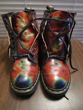 Rare Vintage Hippie Playa Tie Dye Colors Doc Marten Boots Burn - Women's Size: 9