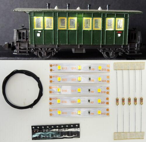 5 Stück 50mm LED Waggon Innenbeleuchtung Kaltweiß Bausatz Analog//Digital C3208