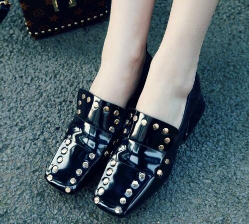 Rivets Square Toe Block Low Heels Slip On Loafers Women/'s Shoes Zsell