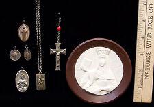 Vintage Jewelry Pendant Saint Anne Cross Sacred Heart Jesus Medals Lot of 7