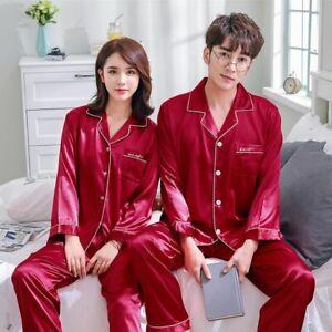 Plus-Size-Couple-Women-Men-Silk-Satin-Night-Sleep-Pajamas-Long-Sleeve-Sleepwear