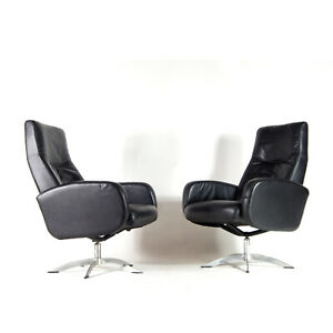 1-of-2-Retro-Vintage-Danish-Leather-Reclining-Swivel-Lounge-Chair-Armchair-70s