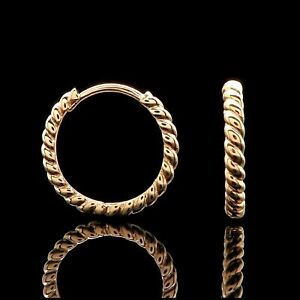 Huggie-Hoop-Earrings-Solid-14K-Yellow-Gold-Twisted-Rope-Cable-Design-14mm